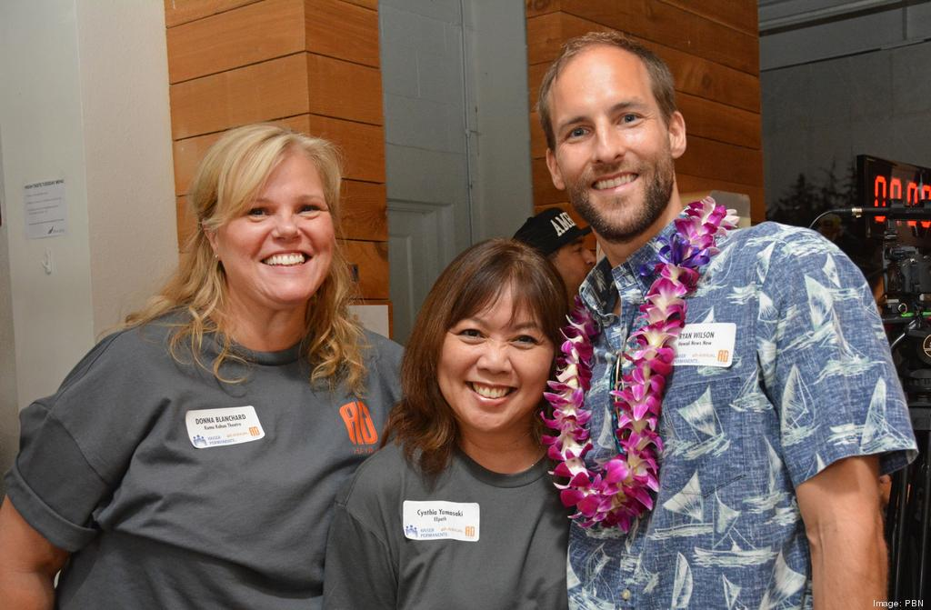 From left, Donna Blanchard of Kumu Kahua Theatre; Cynthia Yamasaki of EEpath and Ryan Wilson of Hawaii News Now